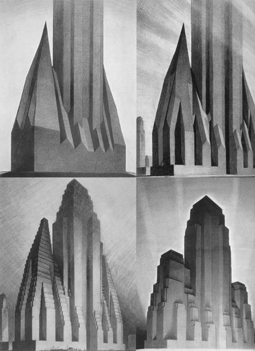Hugh Ferriss, illustrateur, étude impact loi 1916 sur les buildings, New York.jpg